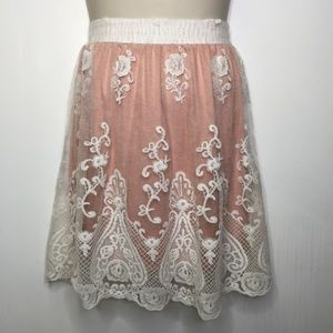 Altar'd State blush with ivory lace overlay skirt